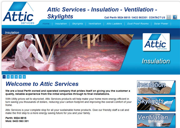 Attic Services - Small Business Website - Mandurah