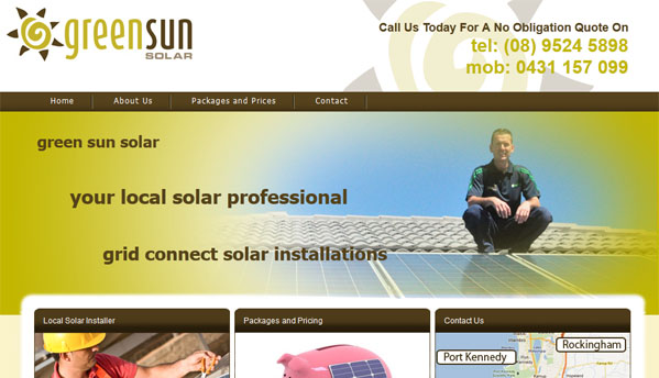 Greensun Solar - Small Business Website - Rockingham