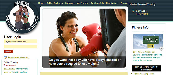 Master Personal Training - Small Business Website - Rockingham